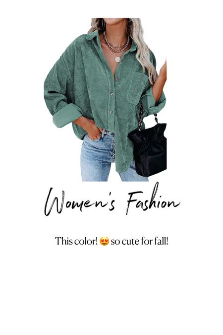 Amazon Fashion. Women's green courdoury jacket   #LTKunder50 #LTKSeasonal #LTKstyletip