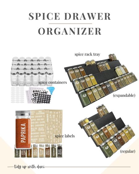 Elevate your cooking with an organized spice drawer! This drawer organizer kit from Amazon is everything you need to organize all of your cooking spices and seasonings. Glass spice containers. Spice rack tray insert in two sizes, expandable or regular. Peel & stick spice labels for an organized kitchen.   #LTKhome #LTKfamily #LTKunder50