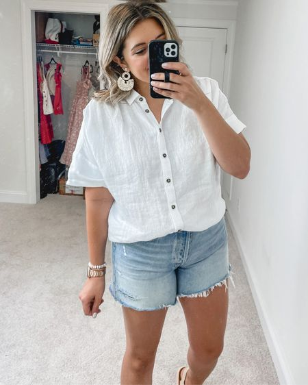 J.Crew 25% off sale! Linen button front top perfect for summer outfits. Woven summer statement earrings, beaded bracelet set, and @madewell sandals (tts). @liketoknow.it http://liketk.it/3gtuv #liketkit #LTKsalealert #LTKunder50 #LTKunder100 @jcrew Jcrew #jcrew