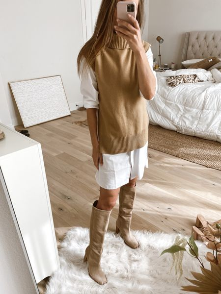 White button down shirt dress is a must for layering this fall! Nordstrom sale sleeveless turtleneck sweater on top.   #LTKstyletip #LTKunder50 #LTKSale