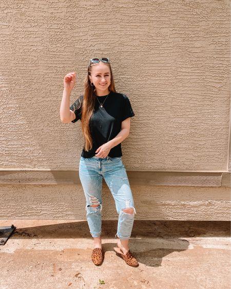 Black target shirt, I sized up 1 size Old navy ripped boyfriend jeans fit true to size Target cheetah print miles, size up 1/2 size Eyebuydirect sunglasses   http://liketk.it/3hhFw #liketkit @liketoknow.it #LTKshoecrush #LTKsalealert #LTKunder50