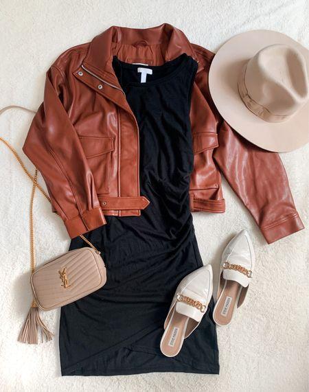 fall outfits Leather jacket black dress Teacher outfits  #falloutfit #falloutfits #teacheroutfits #teacheroutfit #falloutfitidea #fallfashion #amazonfashion #pink lily #leatherjacket #blackdress #casualoutfit #abercrombiestyle  #LTKunder50 #LTKSale #LTKunder100