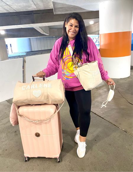 Travel outfit of the day! Nirvana pink sweater shirt (L/XL), leggings (L), leopard adidas (size down, run large)   luggage, travel style, duffel, travel bag, Stoney clover, Delsey, pink luggage, amazon travel favorites, midsize, mid size, size 12, size 14   #LTKunder100 #LTKtravel #LTKitbag