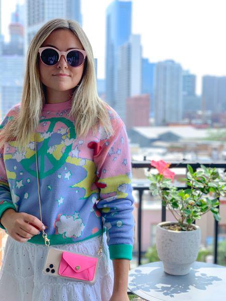 Peace Sign Sweater, White Smocked Ruffled Skirt, Pink Sunglasses, Cell Phone Wallet Case + Strap: ShopBowsAndSequins.com  #LTKunder100 #LTKsalealert #LTKitbag