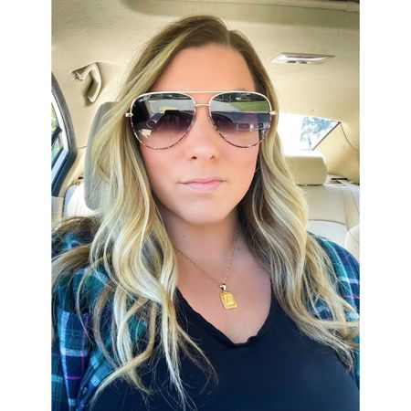 Quay sunnies are BOGO free! Wearing the High Key Two Tone in gold tortoise / fade. Linking a few of my faves. #quay #sunglasses #initialnecklace #bogo #midsizeblogger #midsizestyle  #LTKsalealert #LTKunder100 #LTKstyletip