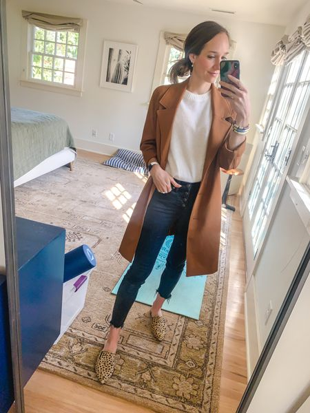 Easy fall neutral outfit and leopard mules   #LTKstyletip #LTKshoecrush #LTKworkwear