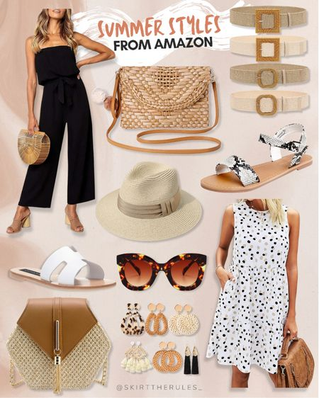Amazon finds, Amazon fashion, beach vacation outfit, summer outfit, summer style, summer dress: black jumpsuit, straw clutch, straw belts, snake print sandals, straw hat, straw Panama hat, tortoise sunglasses, white slide sandals, straw bag, straw earrings, summer earrings, statement earrings, polka dot dress with pockets, white dress. @liketoknow.it http://liketk.it/3iAQF #liketkit #LTKunder50 #LTKstyletip #LTKtravel