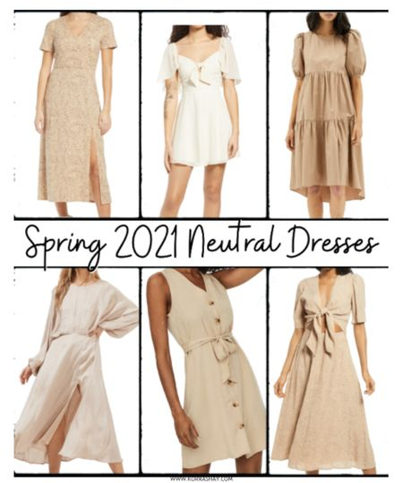 Spring 2021 neutral dresses!   I love a good neutral dress that can work for so many different occasions and these are so perfect 🤍  •••••••••••••••  Neutral, dresses, spring dresses, spring dress, spring style, spring fashion, spring looks, white dress, beige dress, ivory dress, cream dress, tan dress, 2021 dresses, spring 2021 dresses, Nordstrom, Nordstrom finds, tie front dress, tier dress, button down dress, midi spring dress, mini spring dress   #LTKstyletip #LTKunder100 #LTKSeasonal