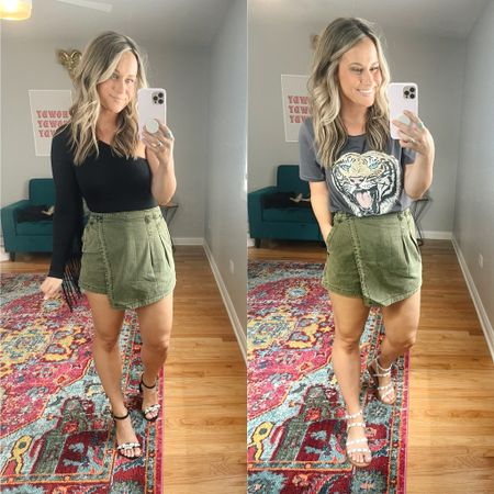 The cutest new skort! This free people skort is under $30 and looks so cute dressed up or as a super casual outfit! Both of these tops are amazon finds!   #LTKstyletip #LTKshoecrush #LTKunder50