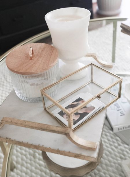 Coffee table decor, mixed with vintage finds and new, affordable Target + Amazon picks! #polaroid #golddecor #affordablehomedecor #marbletray #vintage #candle #targethome  #LTKunder50 #LTKhome