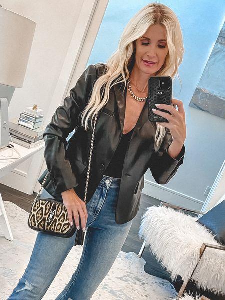 Faux leather blazer under $100 part of the NSALE and still in stock - it runs tts I'm wearing an Xs    #LTKsalealert #LTKstyletip #LTKunder100
