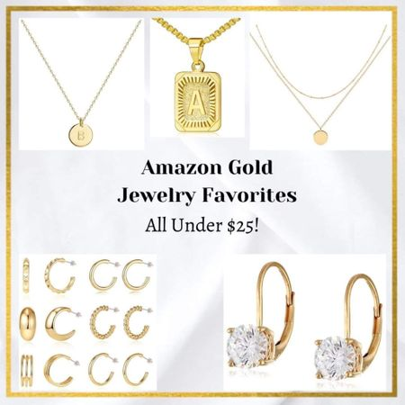 Gold jewelry necklaces dainty necklace layered necklace pendant letter necklace gold earrings hoop earrings diamond stud earrings Amazon jewelry Amazon finds affordable jewelry 14k gold  #LTKstyletip #LTKunder50 #LTKGifts