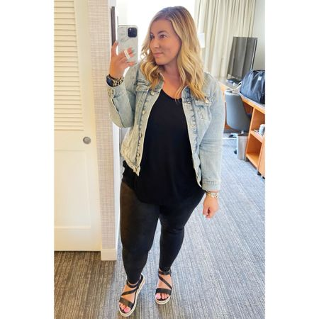 Casual Friday look ✨ These crackle leggings are on sale for $27 (Spanx dupes except even more comfortable) and I can't recommend them enough. Recommend getting your true size. Paired it with a black tank and denim jacket from Old Navy and the comfiest sandals from Target (size up half a size!) @liketoknow.it #liketkit #LTKshoecrush #LTKcurves #LTKsalealert #crackleleggings #aerie #americaneagle #spanxdupes #oldnavy #styledcollection #amazon #casualstyle #midsizestyle #midsizeblogger #curvystyle #travelstyle #fauxleatherleggings #womenssandals #springstyle #denimjacket #target #targetstyle http://liketk.it/3efSv