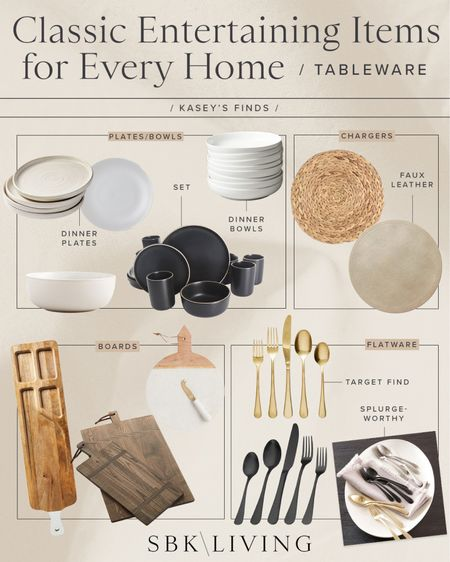 F I N D S \ classic tableware entertaining items for your home!   #plates #bowls #chargers #flatware #board #kitchen #entertaining #holiday #tableware #tablescape   #LTKhome #LTKHoliday #LTKunder50