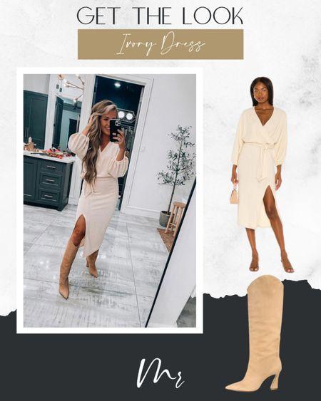 Get the look dress in ivory color tie waist dress fall dress winter dress ivory dress firmal ivory dress cocktail http://liketk.it/3q2ox @liketoknow.it #liketkit