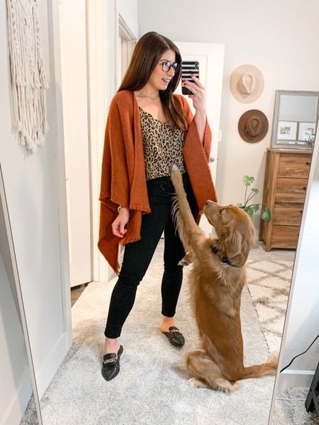 Today's work from home affordable outfit of the day with my favorite little co-worker! This poncho is the perfect weight and style for our spring weather today in Dallas. I just recently bought this leopard cami from J.Crew & I know I'll be wearing this non-stop with black jeans! If you need a comfortable, but appropriate work from home outfit, this look is for you!  #LTKunder50 #LTKworkwear #LTKstyletip