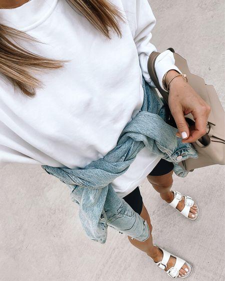 Casual Friday in my black biker shorts (tts), oversized white sweatshirt (tts) denim jacket (xs) and Birkenstock sandals (tts) #bikershorts #sandals #lululemon http://liketk.it/3hTbo #liketkit @liketoknow.it #LTKfit #LTKunder100 #LTKunder50
