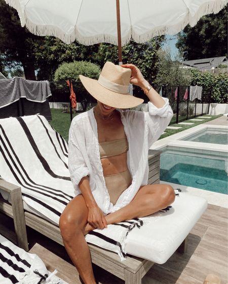 Shimmer ribbed swimsuit + oversized white linen coverup //   #LTKswim