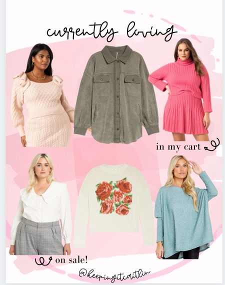 Currently loving this pink sweater skirt, frilly sweaters, plus size tops    #LTKunder100 #LTKsalealert #LTKunder50