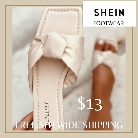 Knot decor slide sandals from Shein and free sitewide shipping today   http://liketk.it/3hZd6 #liketkit @liketoknow.it #LTKshoecrush #LTKunder50 #LTKstyletip You can instantly shop my looks by following me on the LIKEtoKNOW.it shopping app