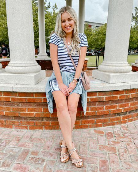 #liketkit http://liketk.it/3j9gD @liketoknow.it striped T-shirt dress and Skyler Steve Madden tan sandals