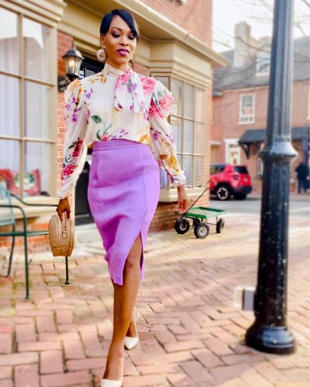 For you lovely busy ladies who are back in the office..  Or heading back to the office a and would like to look springy and professional with minimal effort. Consider wearing a pencil skirt in a beautiful shade of your choice and pair it with a dressy printed blouse.  Take the look🏹 up a notch with nude pumps for a subtle look. Complete the outfit with circle drop earrings and skip out on the work tote and go for a chic circle bag instead.  On the next slide I handpicked similar stylish, office/budget friendly items with excellent reviews. If you can see yourself wearing these handpicked items  lfeel free to follow me on the LIKEtoKNOW.it shopping app and check them out!! .  #liketkit #LTKworkwear #LTKstyletip #LTKunder100 @liketoknow.it http://liketk.it/3a93e