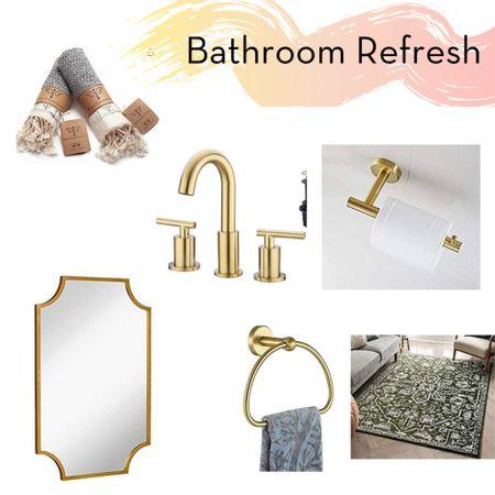 Amazon Bathroom Refresh, Gold Hardware, Bathroom Update, Gold Details, Bathroom, Powder Room, Bathroom Makeover, Bathroom Details #StayHomeWithLTK #LTKhome #liketkit @liketoknow.it http://liketk.it/36fow @liketoknow.it.home