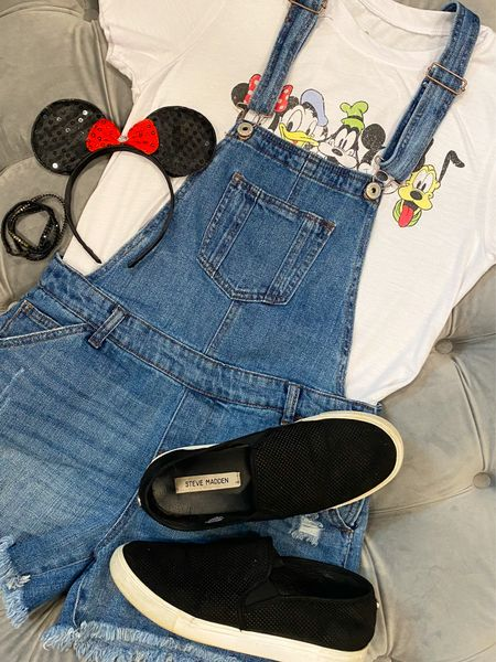Denim overalls & a graphic tee for a cute + comfy park outfit! #disneyoufit #targetstyle #graphictee #stevemadden #mickeyears  #LTKtravel #LTKunder50