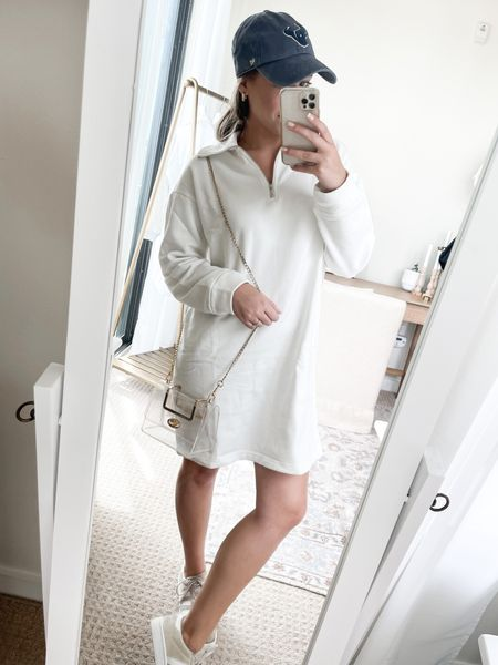 Casual game day look with the best affordable sweatshirt dress! Don't forget a clear bag - this Amazon one has been a staple of mine for YEARS!   #LTKstyletip #LTKunder50