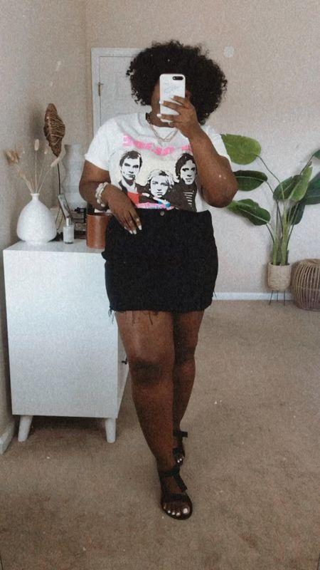 Outfit of the day ft #plussize band tee | denim skirt |   #LTKSeasonal #LTKcurves #LTKstyletip