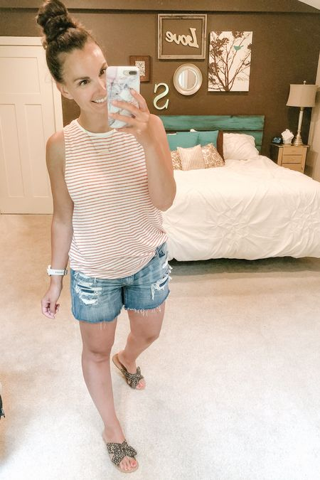 Another light and airy tank and a win with my distressed cutoffs! Love the rusty colored stripes on this one. http://liketk.it/2QhKO http://liketk.it/2QhMq #liketkit @liketoknow.it