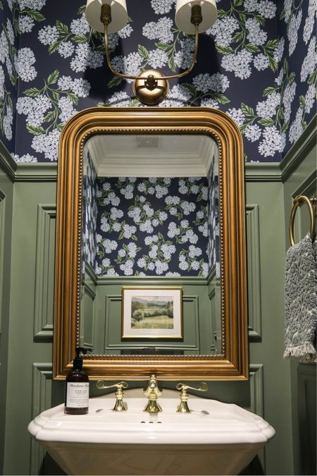 It's done!! And I'm smitten! 🤩 The powder room makeover with Calke Green trim moulding and blue hydrangea wallpaper has to be my most favorite makeover ever! I love every detail. How about that gorgeous mirror?!?  .   #LTKhome