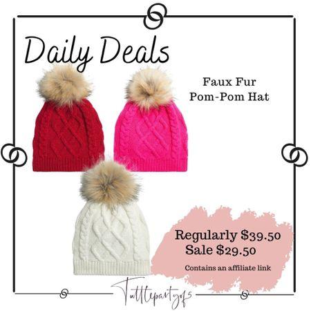 Faux fur pom-Pom hat     #LTKHoliday #LTKSeasonal #LTKsalealert