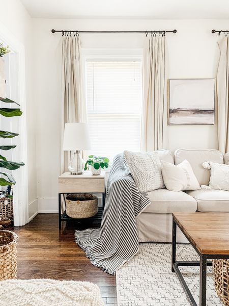 Neutral living room with drop cloth curtains http://liketk.it/3fCh6 #liketkit @liketoknow.it #LTKhome @liketoknow.it.home