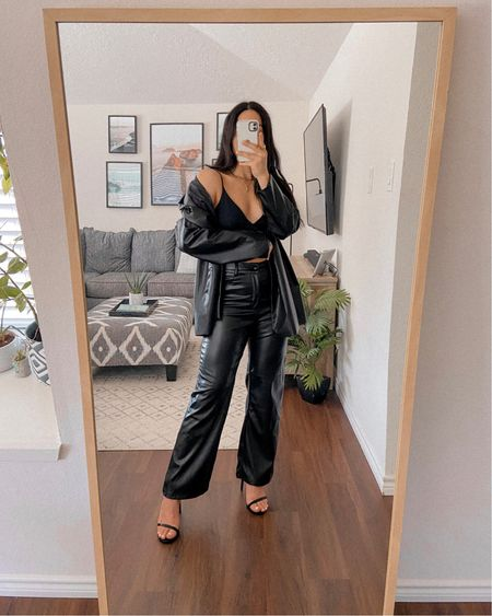 Get 15% off SHEIN with my discount code: Q3YGJESS  Get 10% off Awe Inspired Jewelry with code: JESSICAMELGOZA_10  leather pants, leather blazer, bralette top, gold jewelry, strap minimal heels, fall outfits, fall style, fall outfit inspo, fall outfit ideas   #LTKSeasonal #LTKsalealert #LTKshoecrush