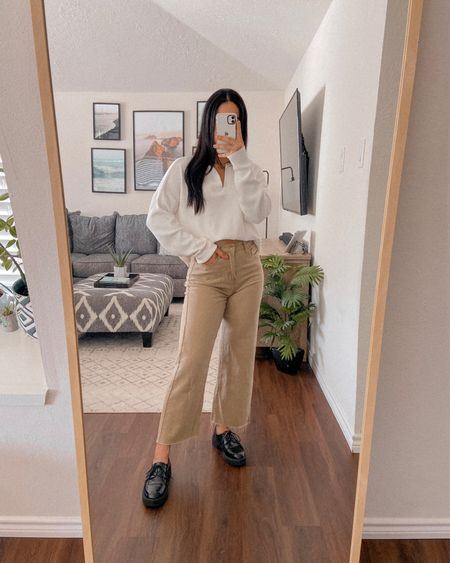 Get 15% off SHEIN with code: Q3YGJESS  collared sweater, beige pants, black loafers, fall outfit, fall style, fall fashion, fall 2021   #LTKunder50 #LTKshoecrush #LTKstyletip