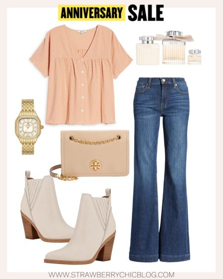 These wide leg denim jeans are a fun change from skinny or straight leg jeans. I paired with creamy white booties and a darling vneck blouse.   #LTKstyletip #LTKshoecrush #LTKunder100