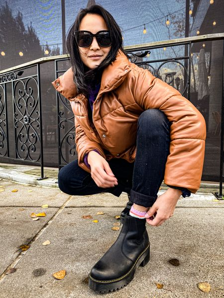 Faux leather puffer + Dr. Martens   http://liketk.it/3303E #liketkit @liketoknow.it #LTKunder100 #LTKshoecrush
