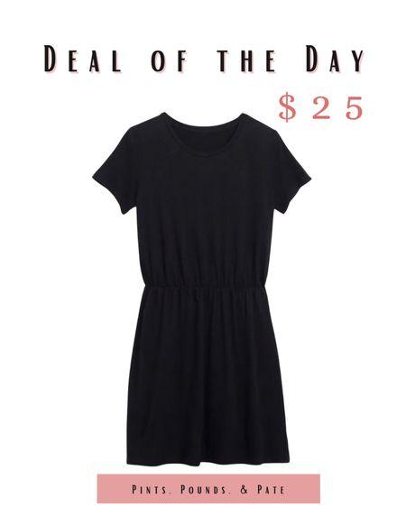 Dress it up; dress it down - a great basic black casual dress on sale now at Old Navy!   #LTKsalealert #LTKunder50 #LTKfit