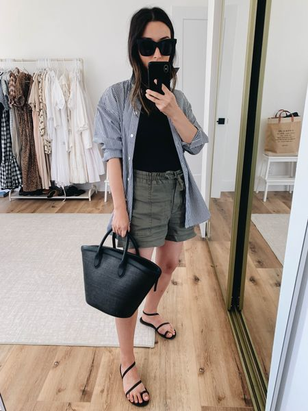 Easy maternity outfits. Linen shorts.   Shirt - J.crew petite 2 Tank - Everlane small Shorts - Michael Stars small Sandals - Tkees 5 Sunglasses - Quay Bag - Vasic   #LTKbump #LTKshoecrush