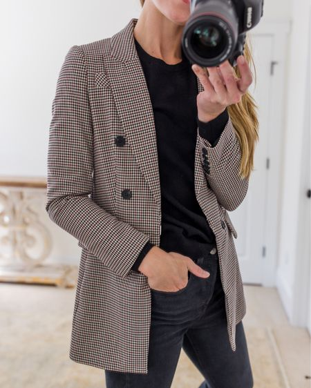 Fall Essentials Outfit wearing 1. State blazer (true to size), ATM cotton tee (true to size), and Levi's black jeans (run small, size up one size).  For more fall wardrobe essentials and simple fall outfit ideas mixing and matching them, visit natalieyerger.com!