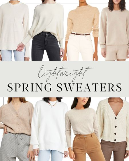 Neutral sweaters and cardigans for springtime. ☀️