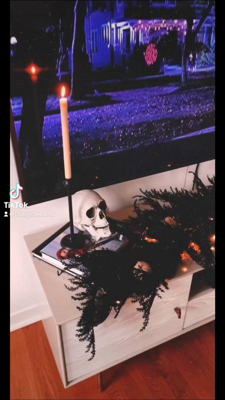Halloween home decor spooky home decor skull Halloween garland candlesticks skeleton cauldron  #LTKSeasonal #LTKunder50 #LTKhome
