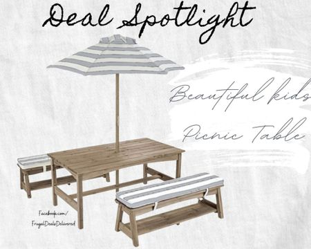 Upgrade your patio porch or pool space with this amazing kids picnic table on sale from many retailers! Your outdoor living space remodel redo decor will look amazing with this farmhouse gray and white look. Take me away on a beach or lake vacation with this style as soon as you enter the backyard!   Screenshot this pic to get shoppable product details with the LIKEtoKNOW.it shopping app make sure you follow FrugalDealsDelivered for more ideas and collage inspiration! http://liketk.it/3f5fd #liketkit @liketoknow.it #LTKfamily @liketoknow.it.home @liketoknow.it.family #LTKsalealert #LTKkids