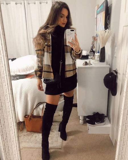Amazon Shacket and Lulus dress http://liketk.it/367xj #liketkit @liketoknow.it #LTKunder50 #LTKSeasonal #LTKstyletip
