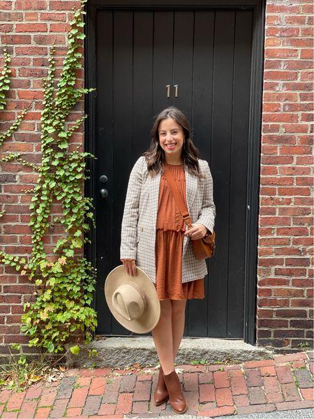 Fall outfit idea! Mini rust dress, plaid blazer and brown booties  Fall style / maternity style / madewell / dsw / bump friendly/ fall outfit    #LTKSeasonal #LTKstyletip #LTKbump