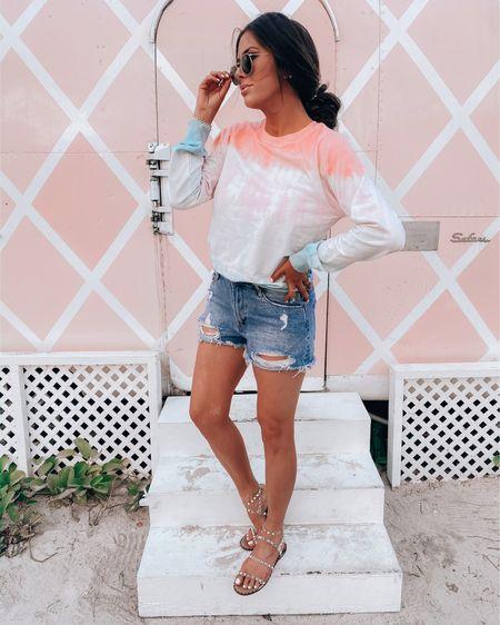 http://liketk.it/3gK0f #liketkit @liketoknow.it vacation outfits, beach vacation, shorts, jean shorts, sunglasses, summer 2021, summer fashion, Steve Madden, sandals, Emily Ann Gemma
