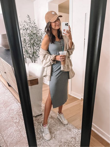 Dress: true to size (S) size down if between. (Nursing friendly dress) Shacket: true to size (S) oversized  Smiley hat, smile baseball cap   #LTKstyletip #LTKunder100 #LTKSeasonal
