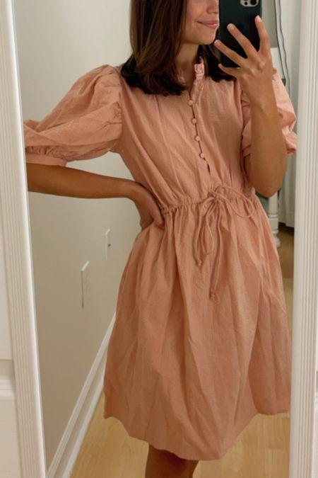 Puff sleeve seersucker dress  #LTKstyletip #LTKunder100 #LTKunder50