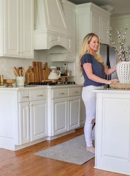 Kitchen decor, white kitchen, kitchen accessories, kitchen design, Ruggable runner. Kitchen lighting. Tea pot.